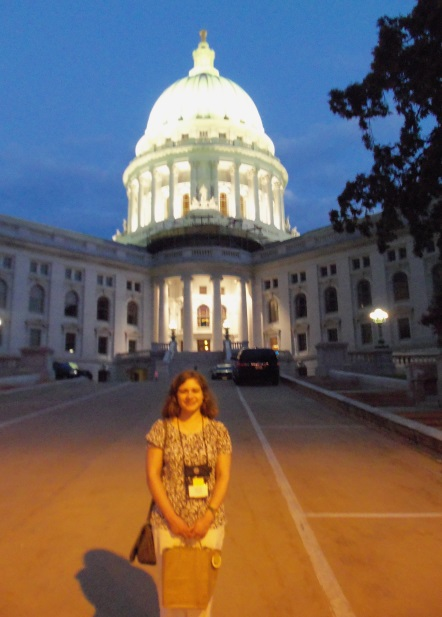 Me in front of the capitol building in Madison, just a few blocks from the conference hotel.
